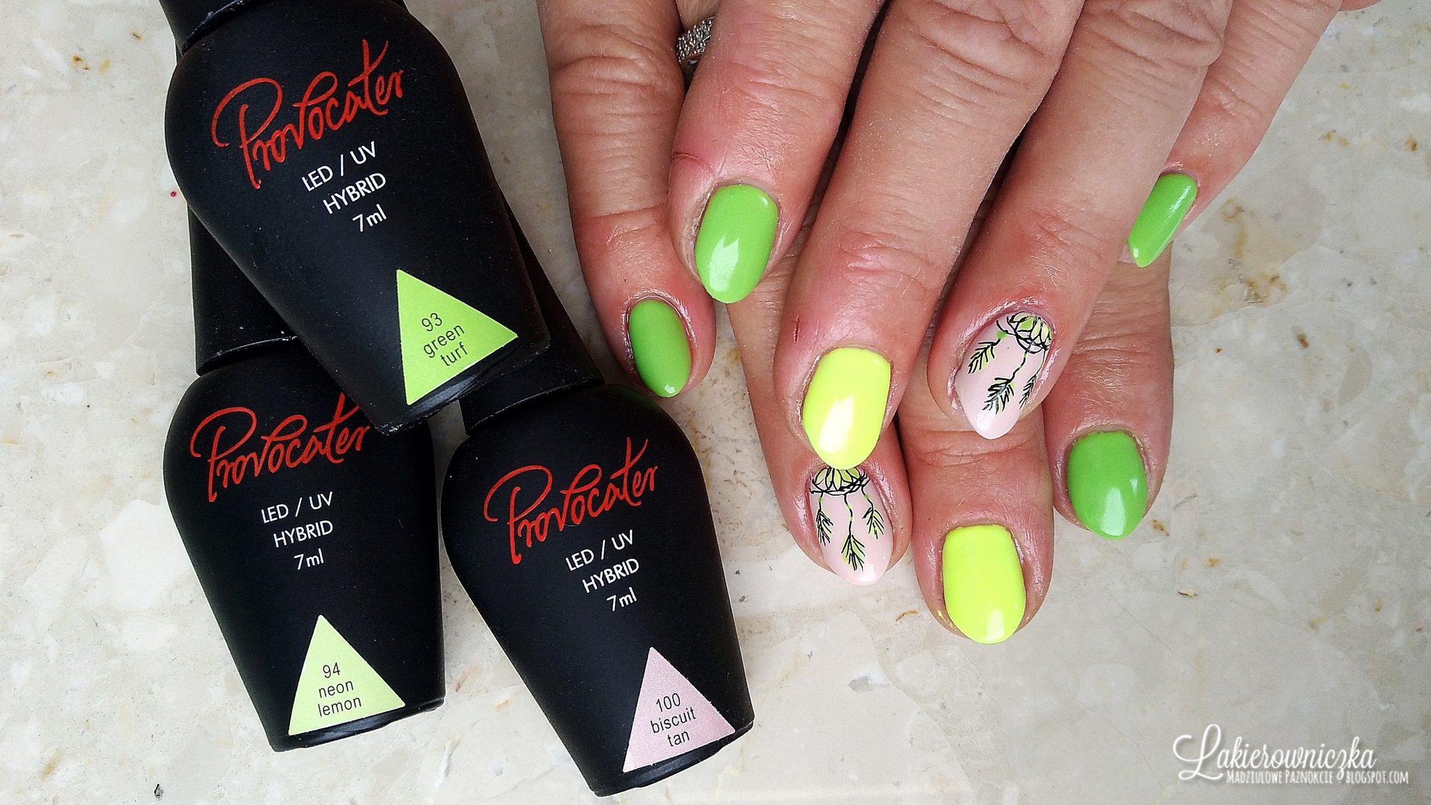 Lakierowniczka-Provocater-neonowe-zolte-paznokcie-zielona-hybryda-zdobienie-rapidograf-lapacz-snow-neonowe żółte paznokcie