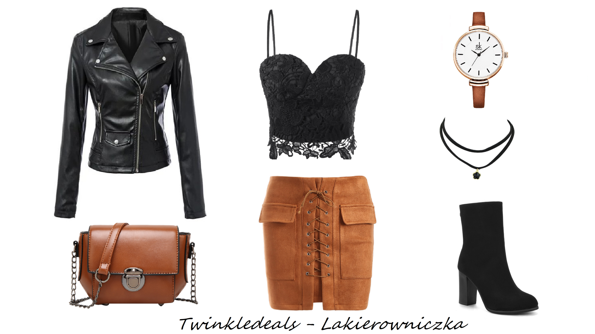 Twinkledeals-wishlist-outfit-atumn-leather-jacket-top-skirt-carmel-brown-black-boots-bag-small-bag-watch-choker-Twinkledeals wishlist