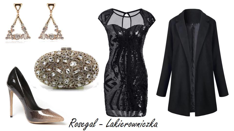 Sylwestrowa-stylizacja-z-Rosegal-new-year-eve-imprezowa-sukienka-mała-czarna-blyszczace-szpilki-pudelkowa-teorebka-kopertowka-zlote-kolczyki-Lakierowniczka-Sylwestrowa stylizacja z Rosegal