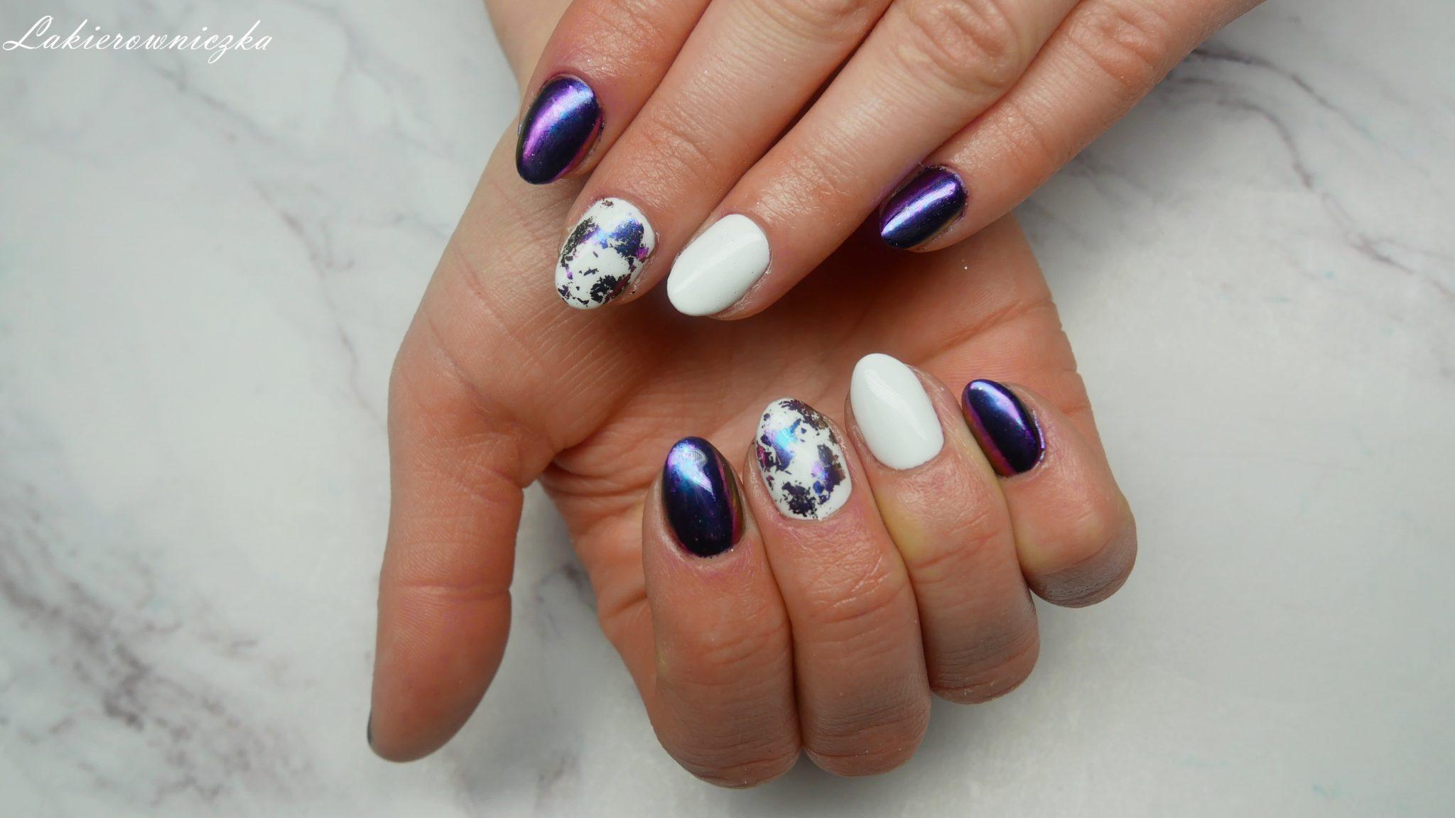 paznokcie-do-niebieskiej-sukienki-Rosegal-Lakierowniczka-white-blue-nails-hybrydy-paznokcie-hybrydowe-hybryda-hybrid-flejk-efekt-pylek-paznokcie do niebieskiej sukienki