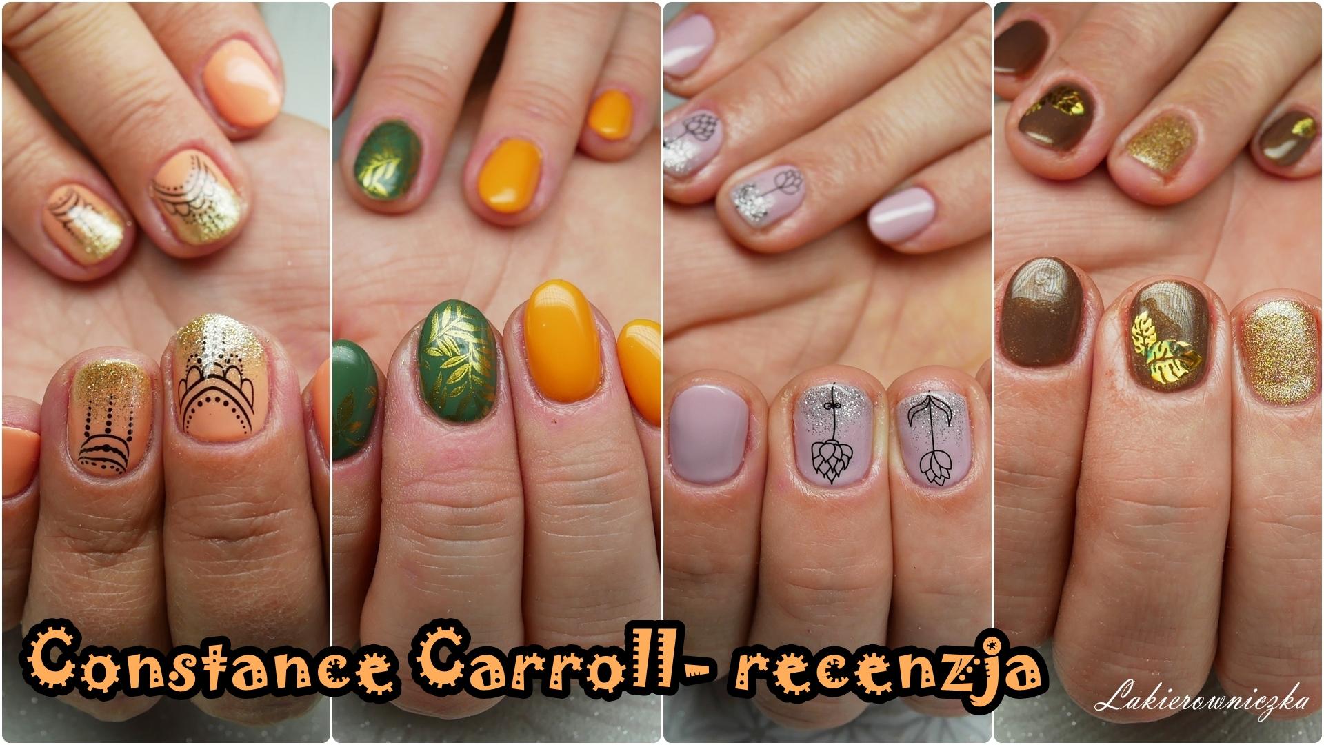 recenzja-Constance-Carroll-hybrydy-opinia-trwalosc-krycie-szybkie-zdobienia-na-jesien-2018-339-220G-269-212G-334-128-gradient-z-brokatem-ombre-wodne-naklejki-na-paznokcie-stempel-Constance Carroll opinia