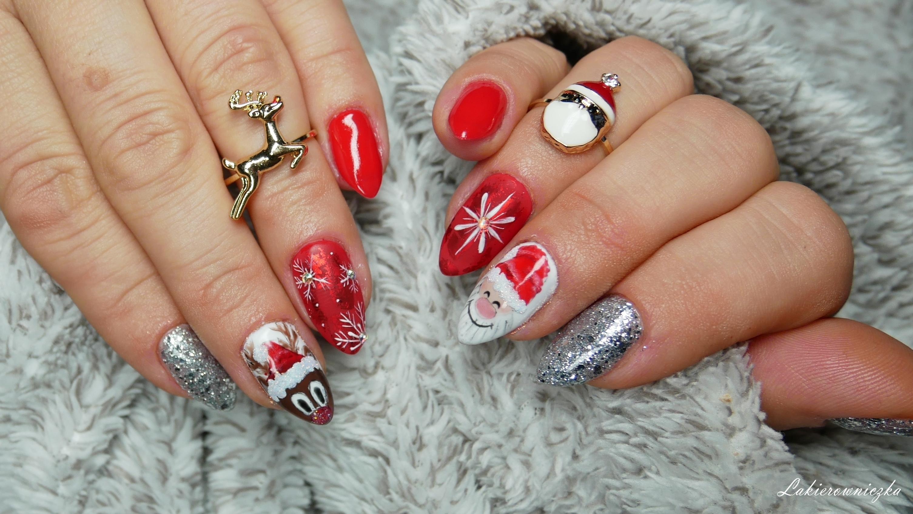 renifer-na-paznokciach-hybrydowych-czerwone-hybrydy-Neess-7426-czerwony-to-RED-Święty-Mikołaj-śnieżynki-srebro-Lakierowniczka