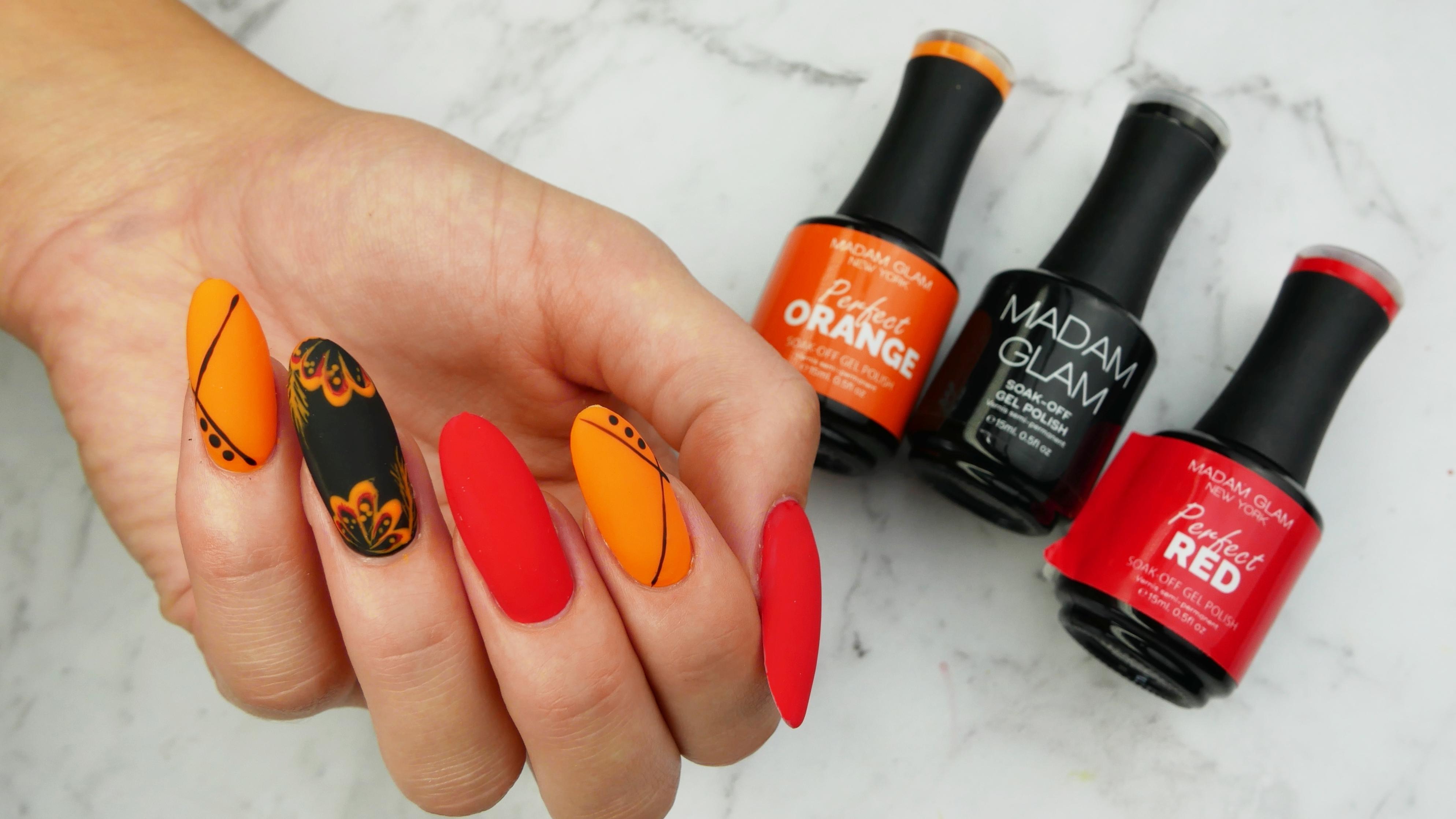 matowe-perfekcyjne-hybrydy-Madam-Glam-Perfect-Red-Orange-Black-Lakierowniczka
