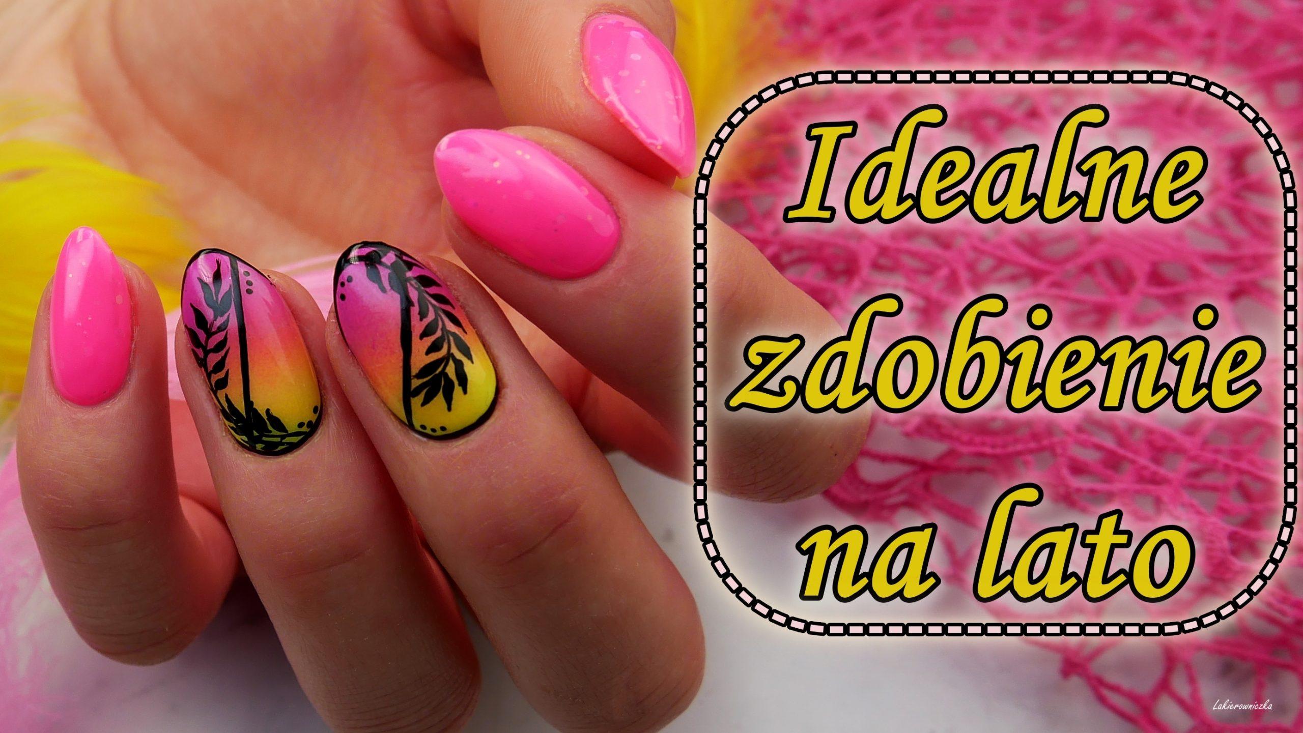 Letnie-paznokcie-ombre-gradient-palmy-liscie-summer-nails=Lakierowniczka-Slowianka