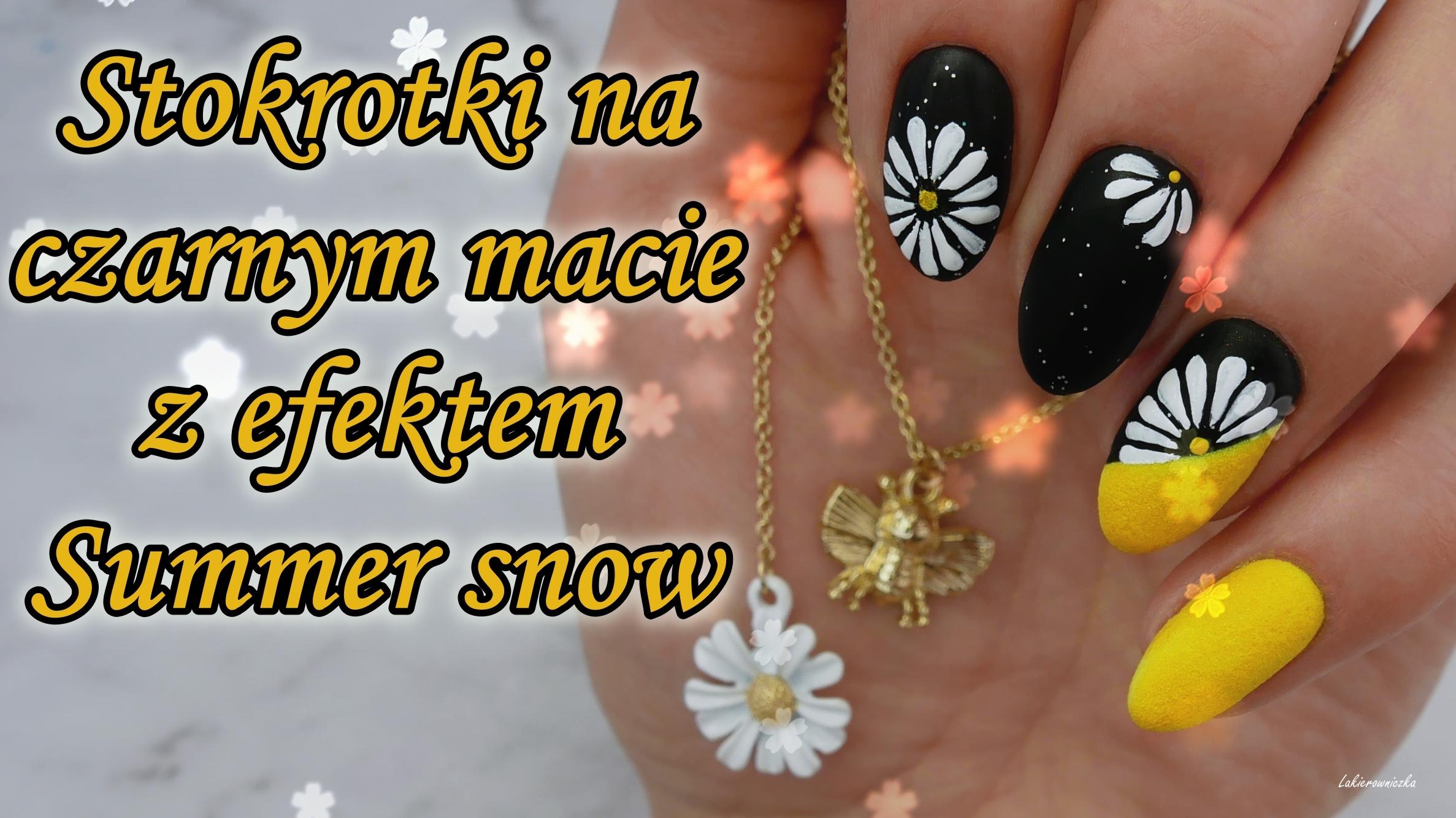 letnie-paznokcie-czarne-matowe-hybrydy-stokrotki-summer-snow-efekt-Słowianka-Lakierowniczka-daisy-nails