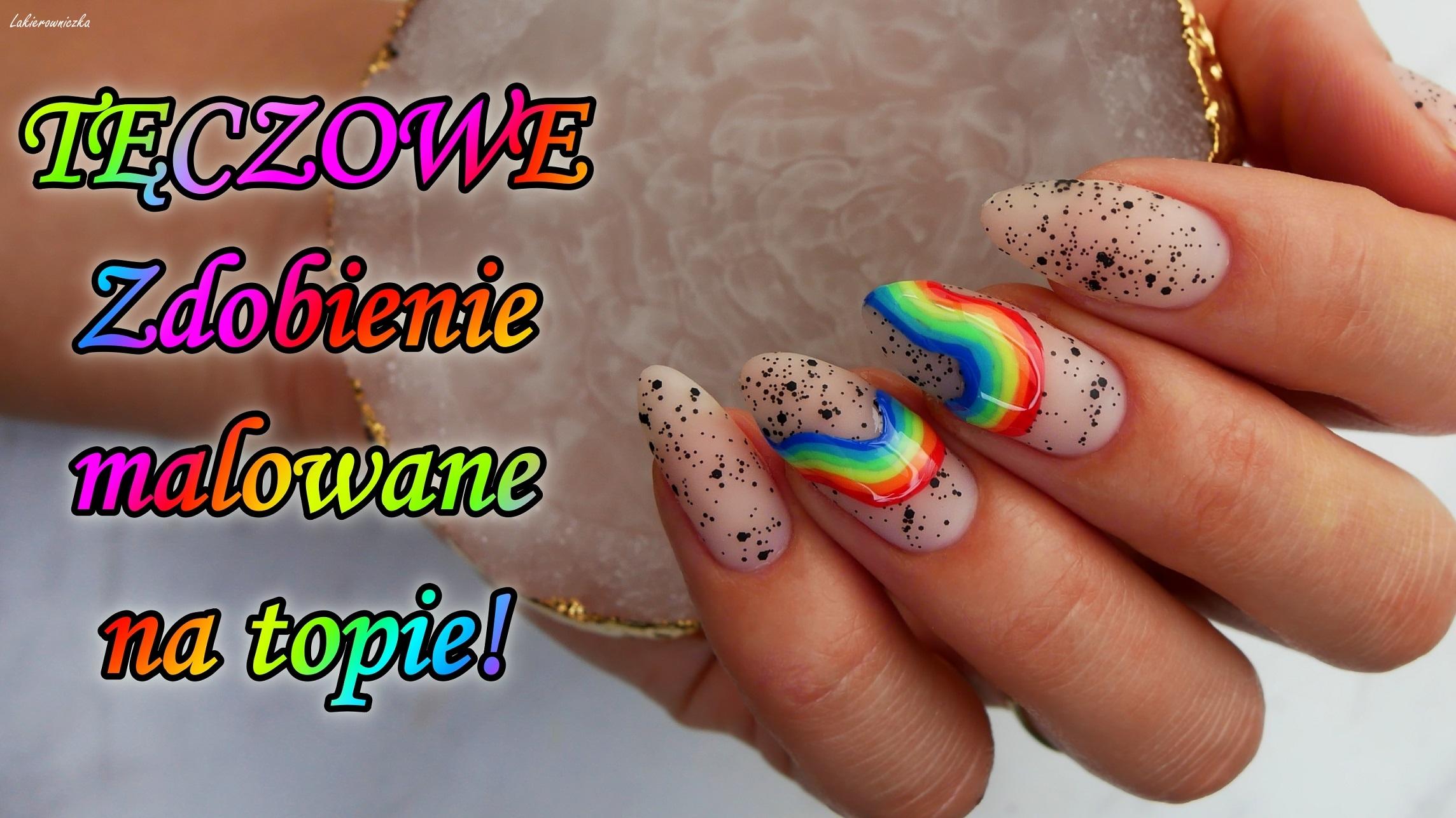 teczowe-paznokcie-rainbow-nails-black-dots-top-top-z-czarnymi-kropeczkami-Madam-Glam-Lakierowniczka